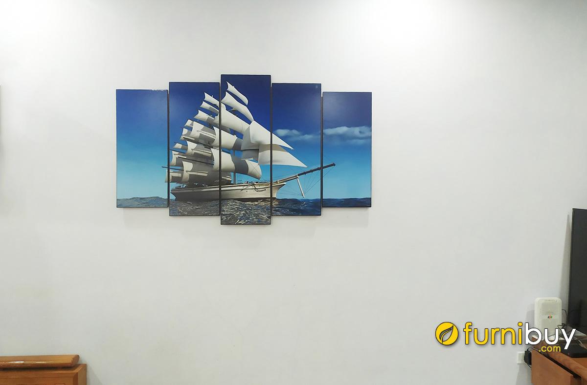 Hình ảnh Tranh thuyền buồm treo phòng khách chung cư bán chạy