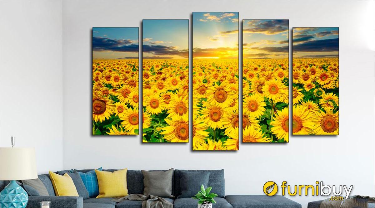 Hình ảnh Bức tranh treo phòng khách đẹp cánh đồng hoa hướng dương