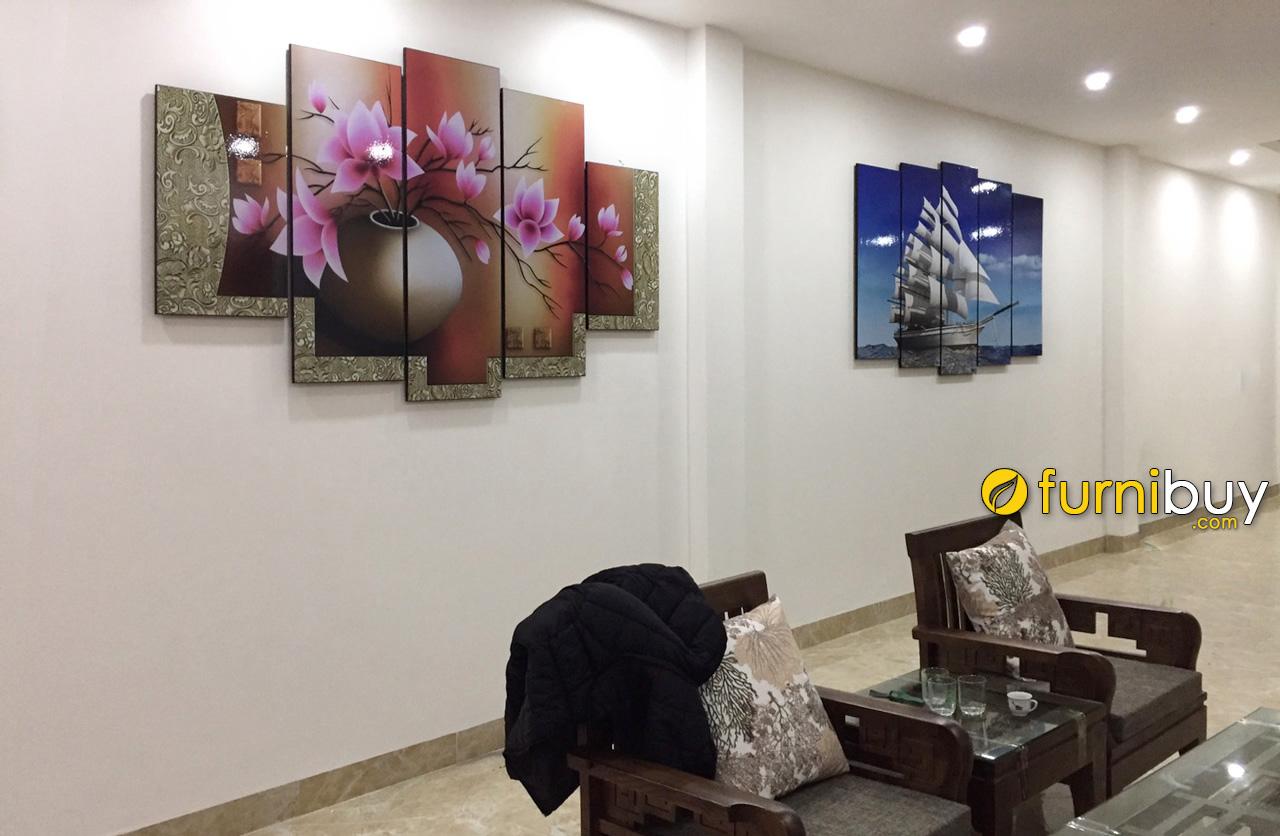 Hình ảnh Tranh treo phòng khách nhà ống đẹp 2 bộ tranh ghép bộ