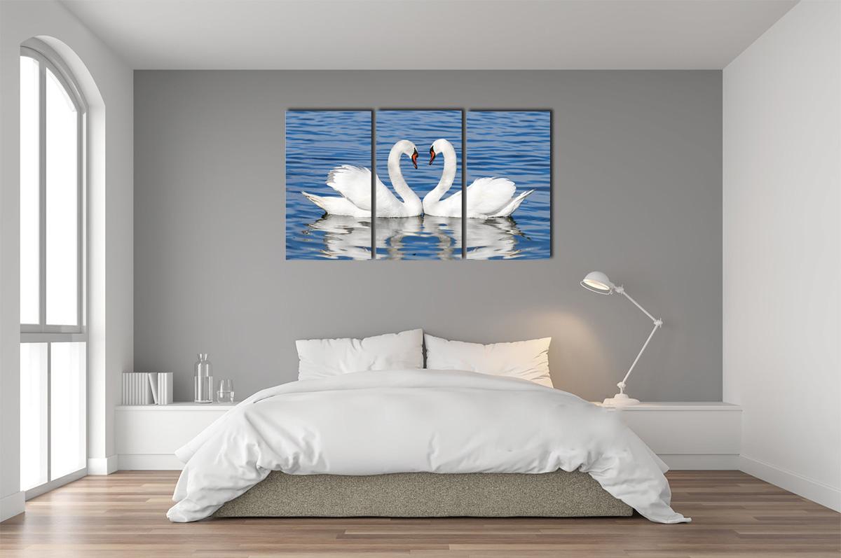 Hình ảnh Tranh treo phòng ngủ cho người mệnh Kim với hình đôi thiên nga trắng chụm đầu