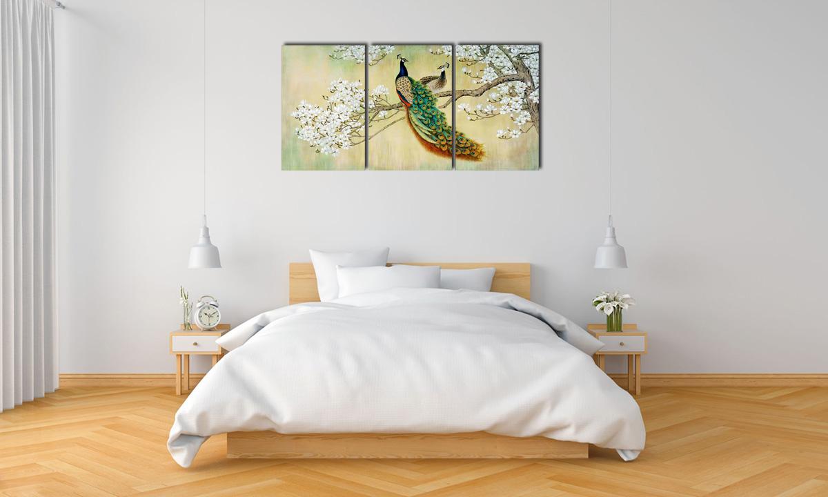Hình ảnh Tranh treo phòng ngủ mệnh Kim hình đôi công đẹp cho vợ chồng trẻ