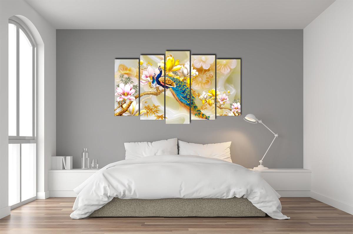 Hình ảnh Tranh treo phòng ngủ sang trọng đôi công và hoa mộc lan mã 1414