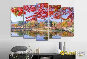 Tranh phong cảnh cung điện và mùa thu Hàn Quốc treo tường AmiA 1545