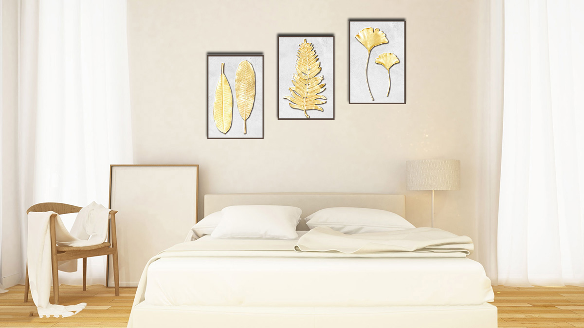 Hình ảnh Bộ tranh treo tường phòng ngủ hợp mệnh Kim ghép bộ 3 tấm