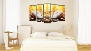 Hình ảnh Tranh treo tường phòng ngủ lãng mạn đôi thiên nga chụm mỏ mã 1683