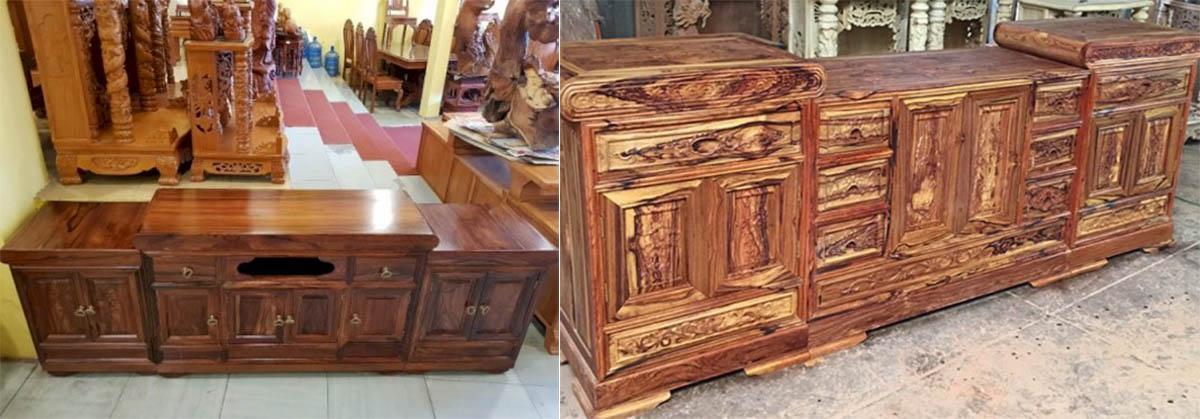 Hình ảnh Mẫu tủ đựng tivi gỗ cẩm lai truyền thống