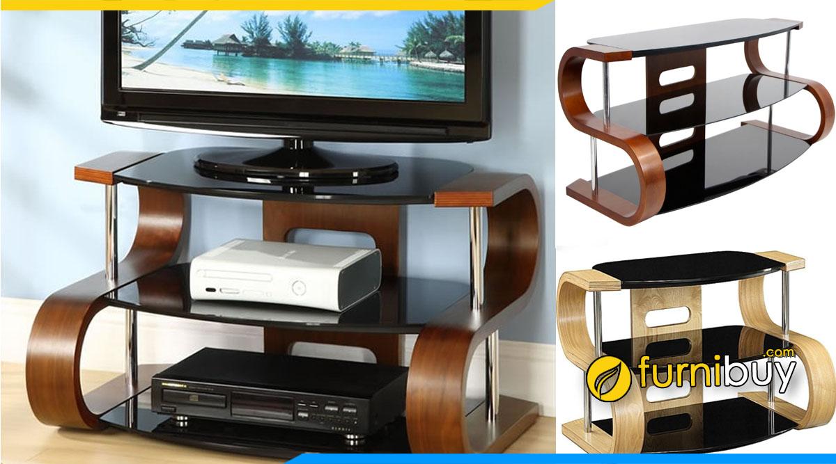 Hình ảnh Mẫu tủ kệ tivi bằng kính đặt dưới chân cầu thang nhỏ gọn hình chữ S đẹp