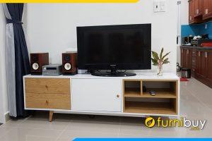 Tủ tivi gỗ 2 tầng đẹp giá rẻ FBK014 hiện đại