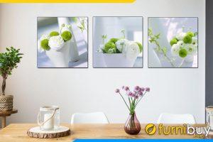 Mẫu tranh bình hoa ghép bộ 3 tấm hiện đại treo tường phòng ăn đẹp AmiA 1172