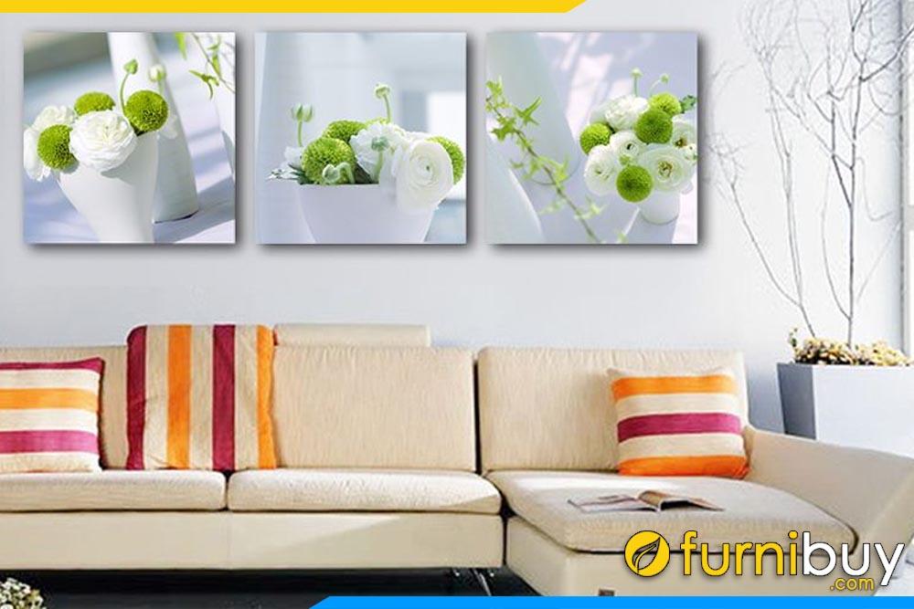 Tranh bộ bình hoa màu xanh trang trí phòng khách hiện đại AmiA 1172