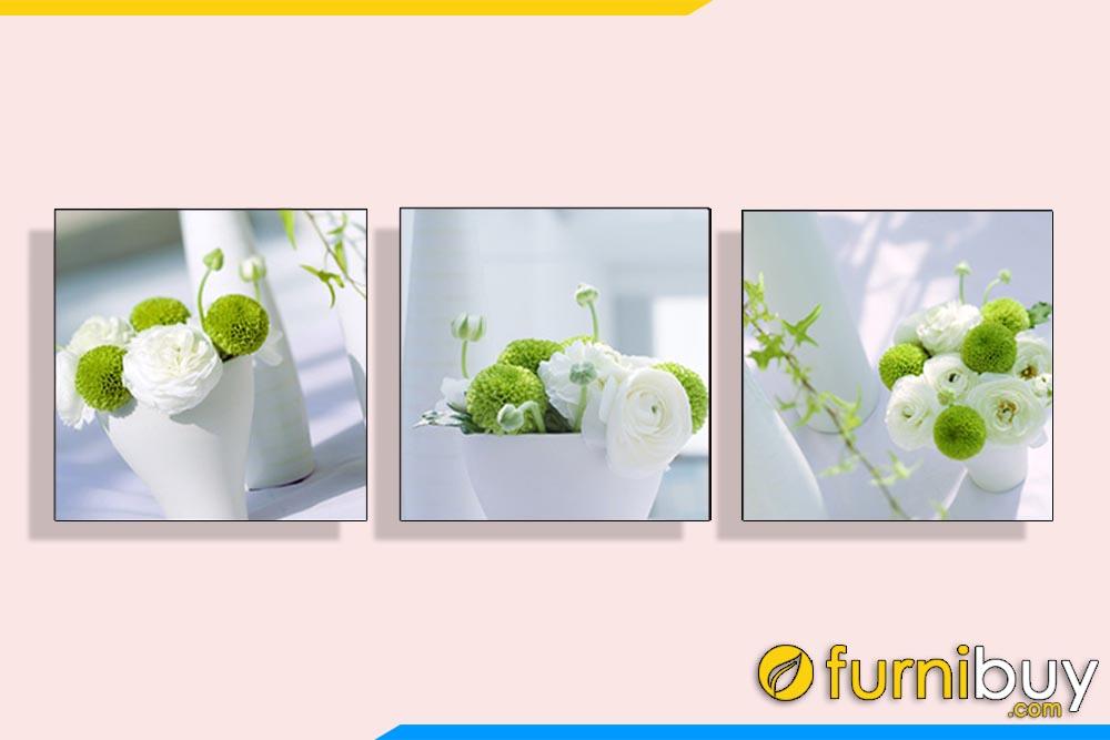 Tranh bộ bình hoa màu xanh tươi mát treo tường phòng ăn AmiA 1172