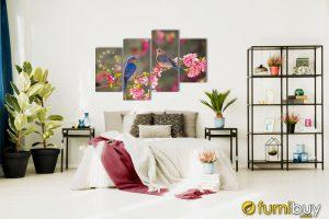 Tranh đôi chim đẹp ghép bộ trang trí phòng ngủ vợ chồng ý nghĩa AmiA 205