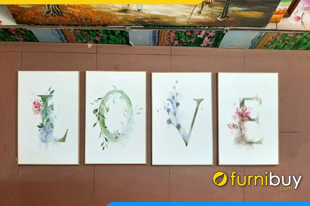 Tranh canvas chu Love 4 tam tinh yeu treo tuong