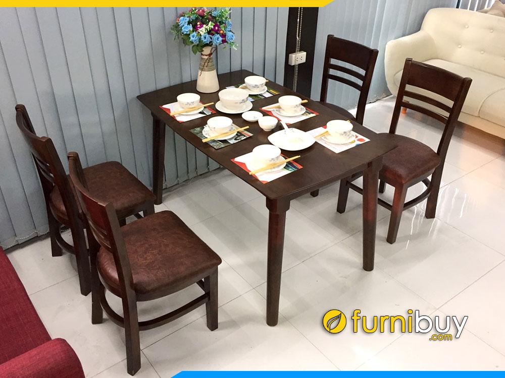 Ảnh chụp bộ bàn ăn cabin 4 ghế gỗ sồi đẹp BA020