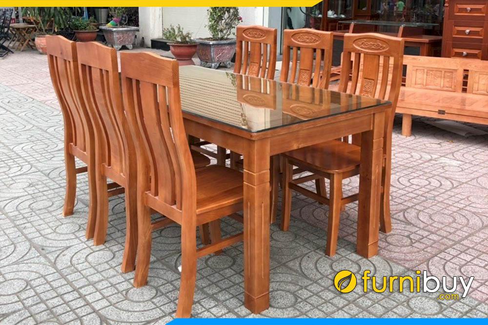 Hình ảnh Bàn ăn 6 ghế đẹp mặt sồi liền BA014A