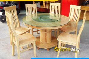 Hình ảnh bộ bàn ăn 6 ghế tròn xoay gỗ sồi BA011