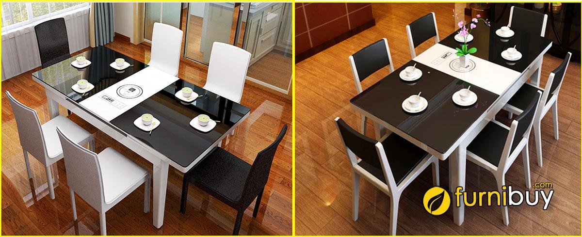 Hình ảnh Mẫu bàn ăn hiện đại thông minh có bếp điện từ