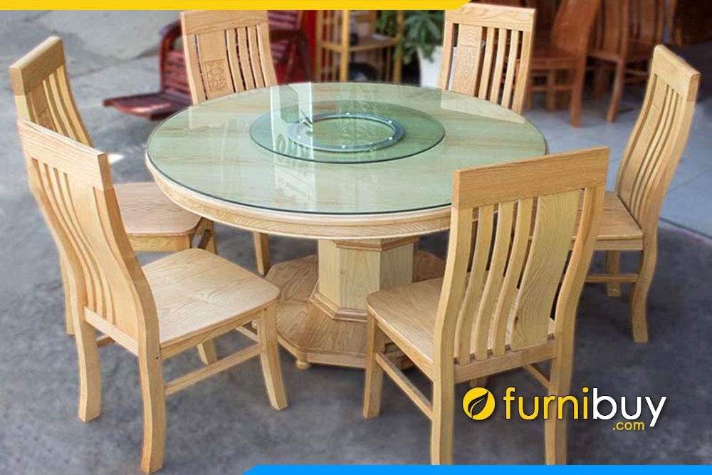 Hình ảnh Bàn ăn hình tròn mâm xoay gỗ sồi giá rẻ BA011