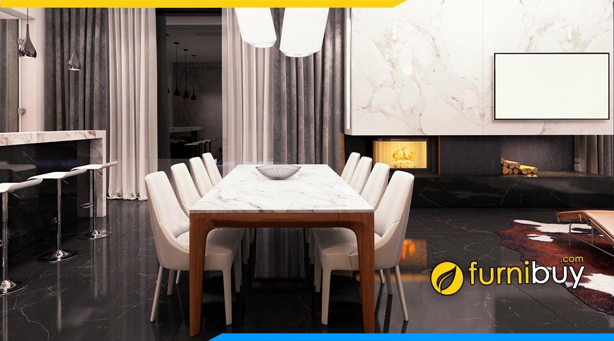Hình ảnh mẫu bàn ghế ăn hiện đại mặt đá cao cấp, sang trọng