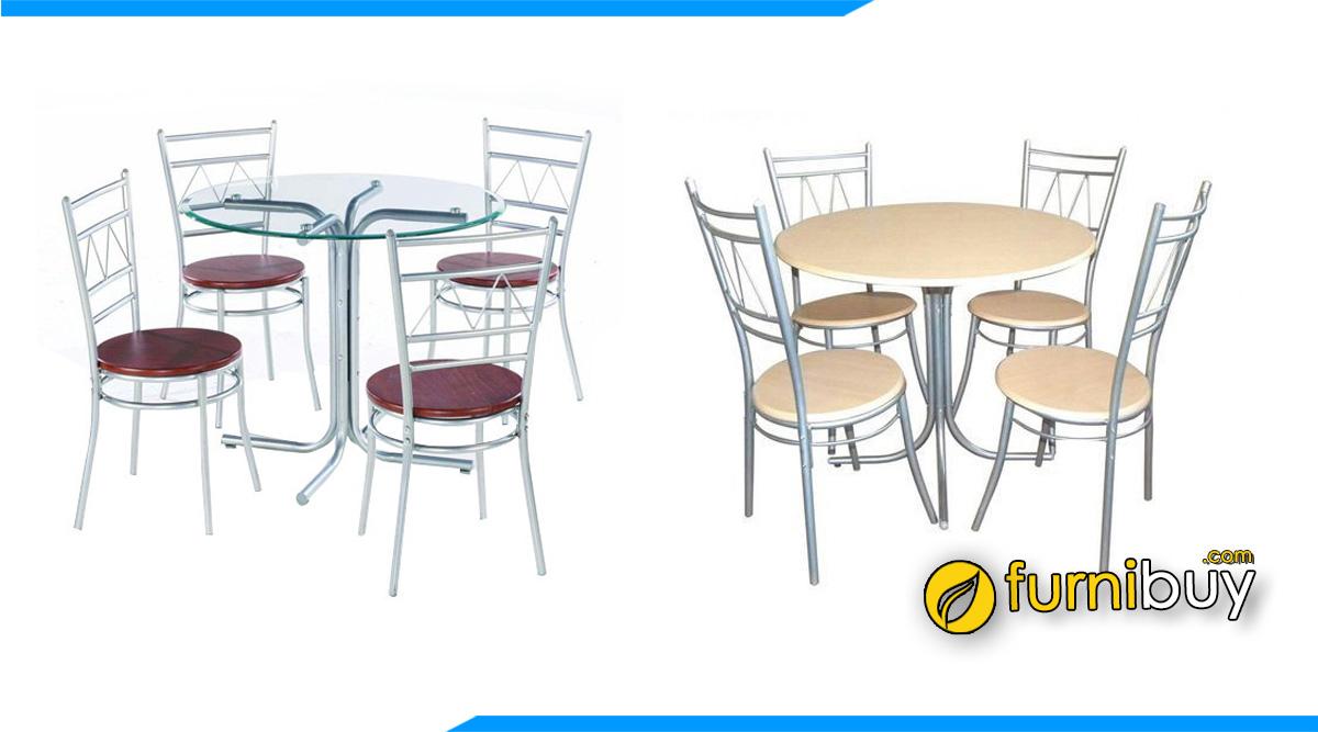 Bộ bàn ghế ăn Inox giá rẻ hình tròn