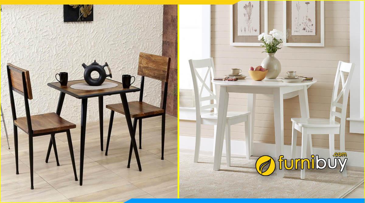 Hình ảnh bộ bàn ăn 2 ghế gỗ sồi nhỏ đẹp giá rẻ