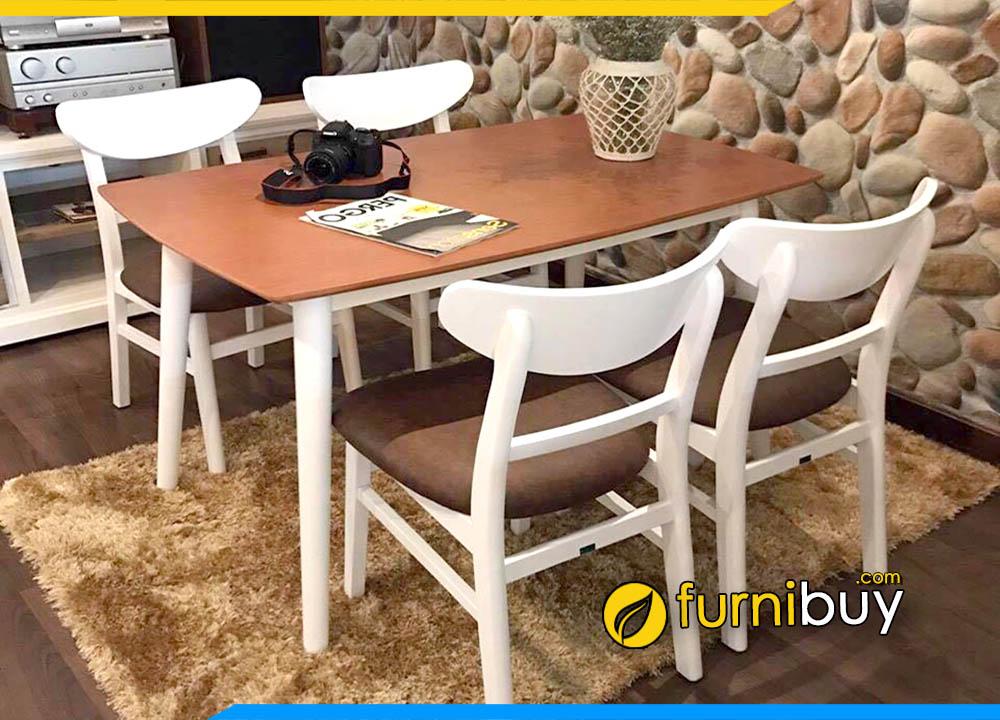 Hình ảnh Bộ bàn ăn 4 ghế mango hiện đại BA023