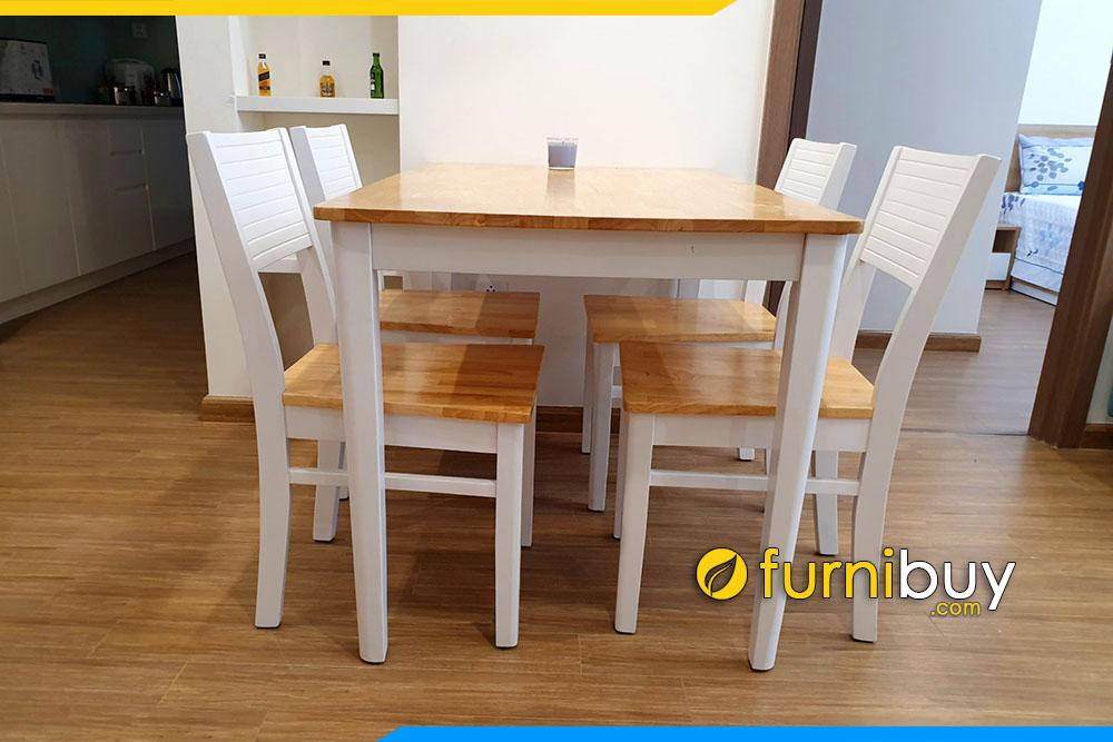 Hình ảnh Bộ bàn ăn 4 ghế màu trắng đẹp BA021