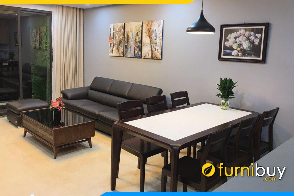Hình ảnh bộ bàn ăn 6 ghế BA039 kết hợp sofa phòng khách đẹp