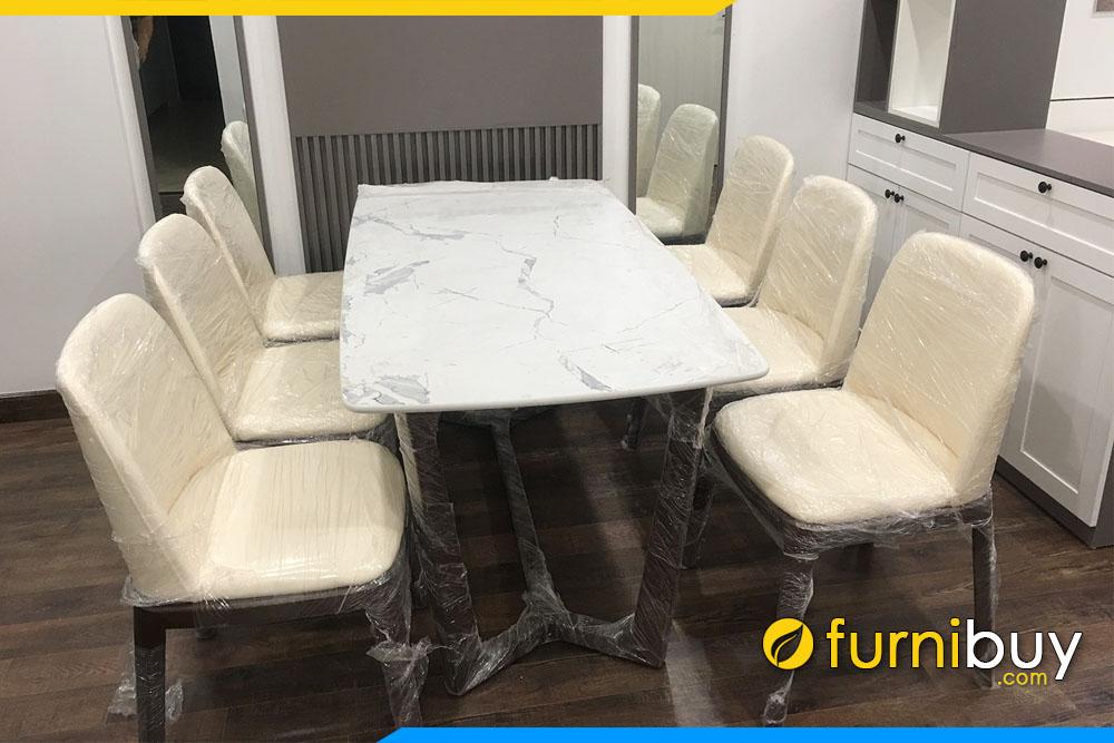 Hình ảnh Bộ bàn ăn 6 ghế mặt đá đẹp chung cư BA038