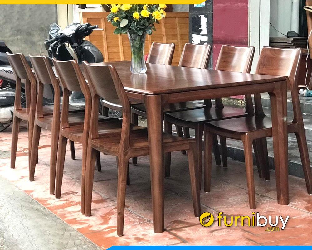 Hình ảnh Bộ bàn ăn 8 ghế gỗ đẹp BA014A phun sơn màu óc chó