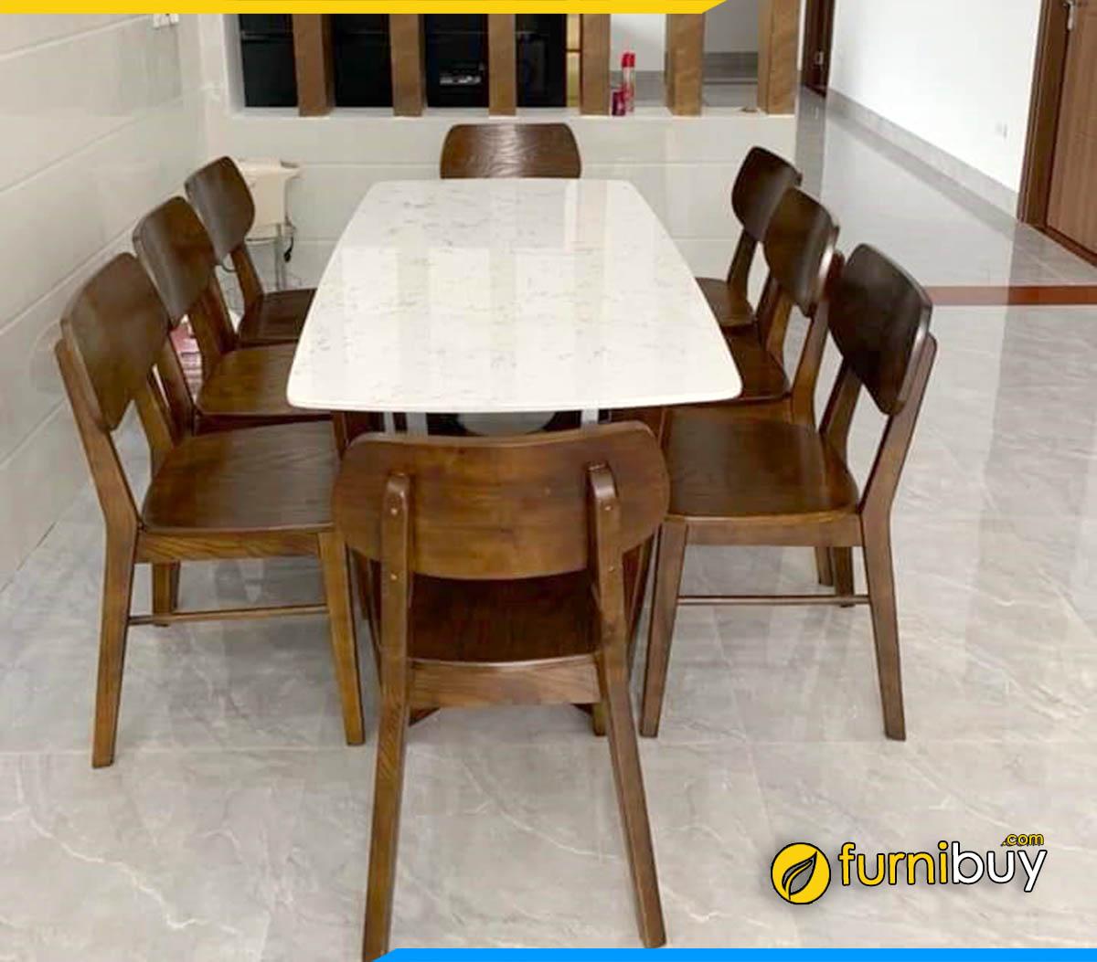 Hình ảnh Bộ bàn ăn chung cư 8 ghế gỗ sồi nhà anh Tú đẹp