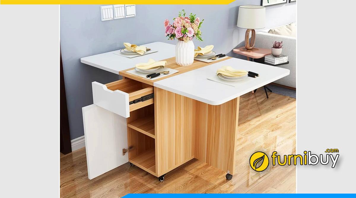 hình ảnh Bộ bàn ăn gấp thông minh gỗ mdf phủ veener công nghiệp đẹp