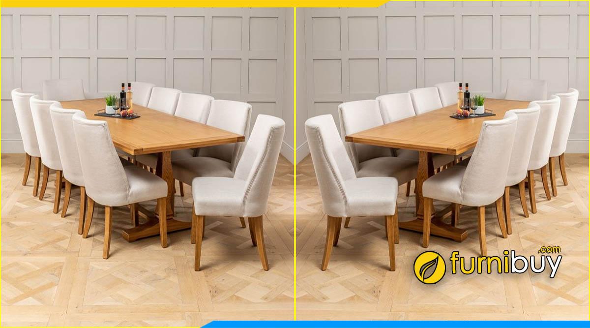 Hình ảnh Bộ bàn ăn gỗ sồi 10 ghế nệm nỉ sang trọng