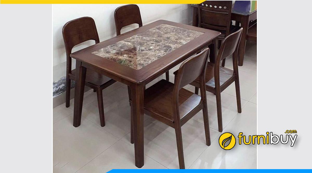 Bộ bàn ăn gỗ Sồi 4 ghế giá rẻ Hà Nội màu óc chó đẹp