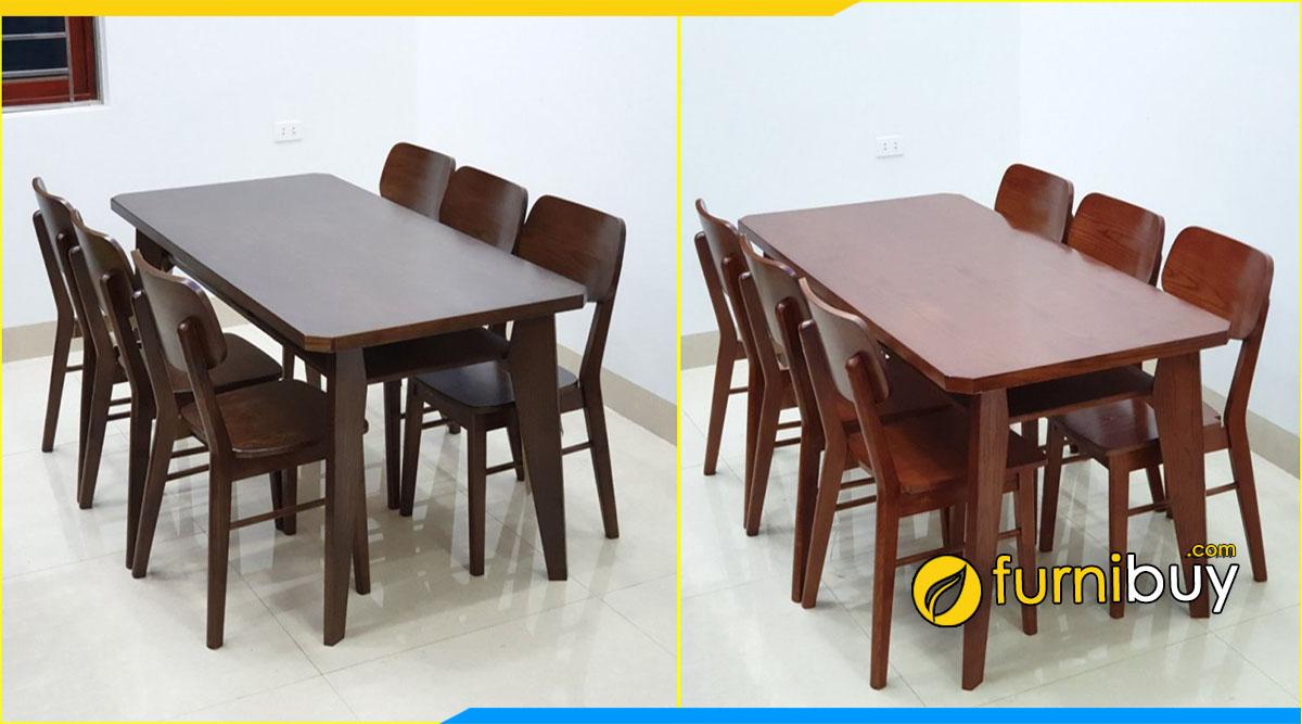 Hình ảnh Bộ bàn ăn gỗ sồi 6 ghế mango hiện đại