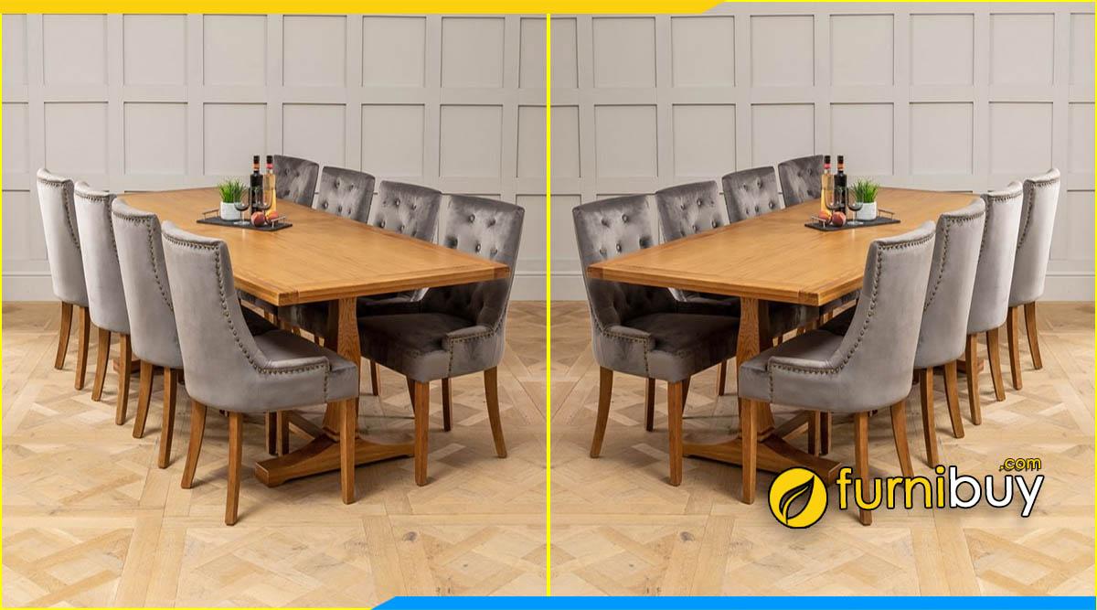 Hình ảnh Bộ bàn ăn gỗ sồi 8 ghế nệm nỉ tân cổ điển