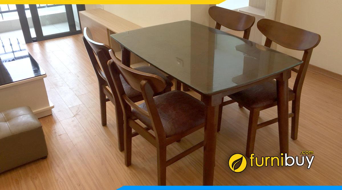 Hình ảnh Bộ bàn ghế ăn gỗ sồi chữ nhật hiện đại