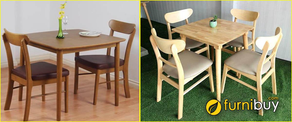 Hình ảnh bộ bàn ăn gỗ sồi hình vuông nhỏ gọn.