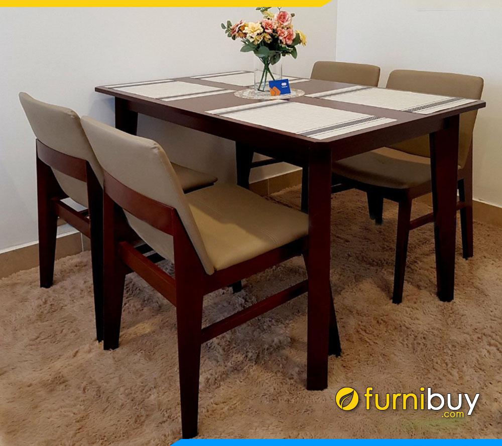 Hình ảnh Bộ bàn ăn Obama 4 ghế phun sơn màu óc chó BA027