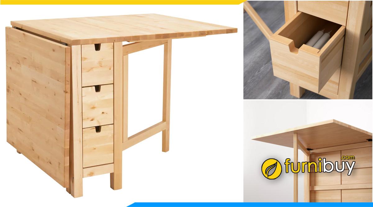 hình ảnh Bộ bàn ăn thông minh gỗ sồi gấp gọn 4 ghế tiết kiệm diện tích