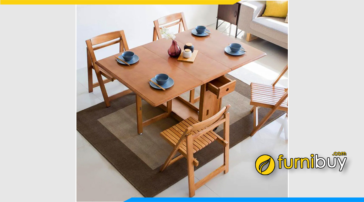 hình ảnh Bộ bàn ăn thông minh gỗ sồi tự nhiên có ngăn kéo nhỏ