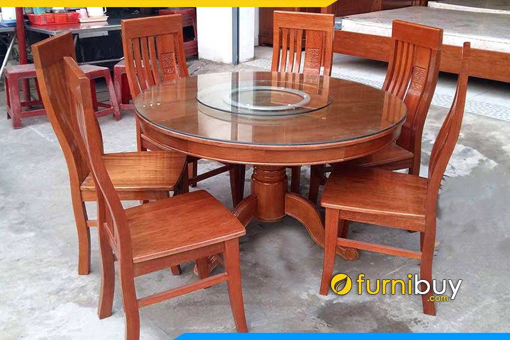 Hình ảnh bộ bàn ăn tròn xoay 6 ghế BA011 màu sơn gỗ xoan đào