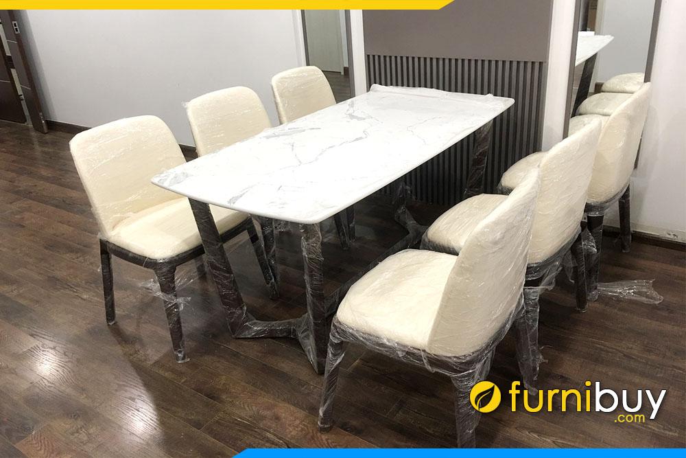 Hình ảnh Bộ bàn ăn Concorde 6 ghế nệm da đẹp BA038