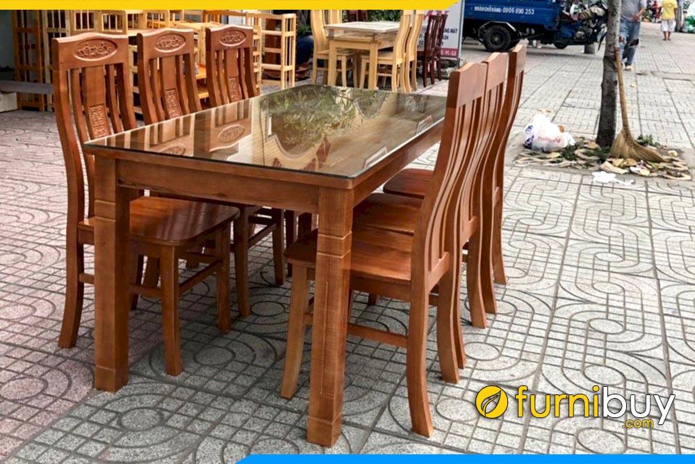 Hình ảnh Bộ bàn ghế ăn đẹp mặt gỗ sồi liền BA014A