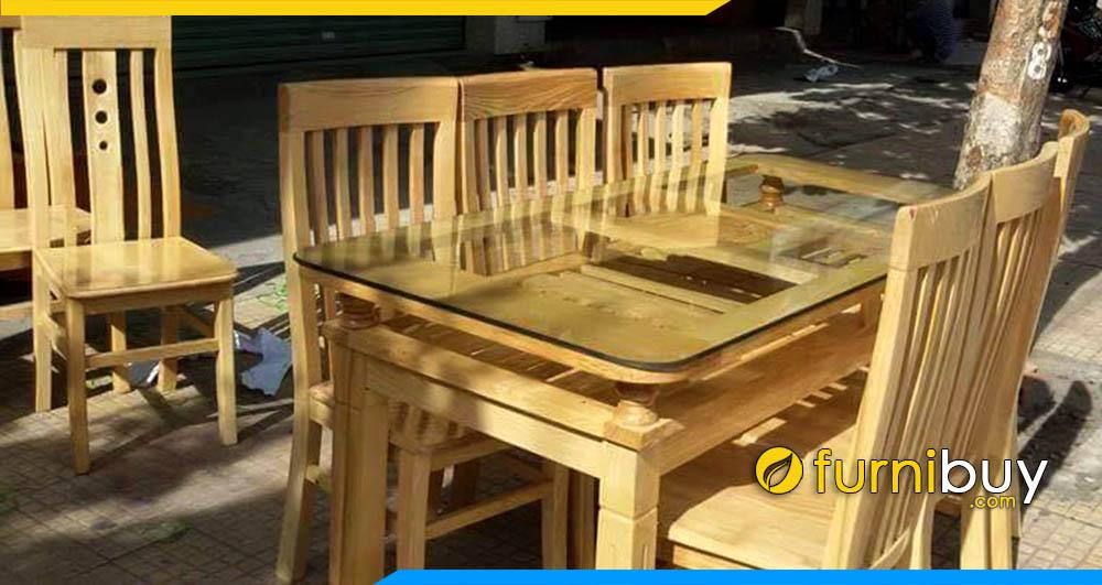Hình ảnh Bộ bàn ghế ăn gia đình 5 nan giá rẻ BA014