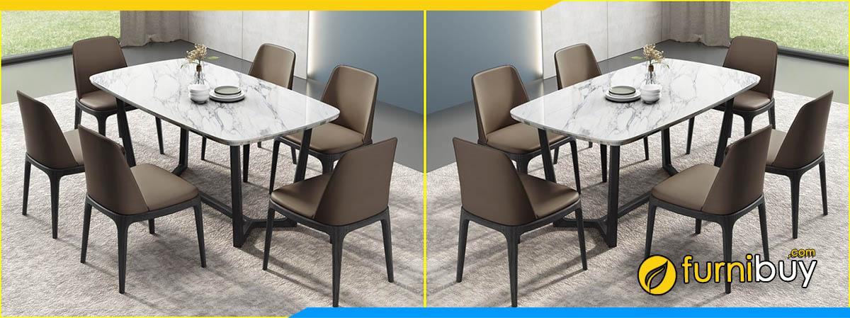 Hình ảnh Bộ bàn ghế ăn gỗ sồi mặt đá xuất khẩu đẹp