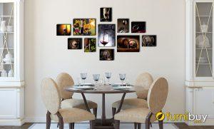 Hình ảnh Bộ tranh canvas phòng ăn chủ đề rượu vang đẹp sang trọng mã 1793