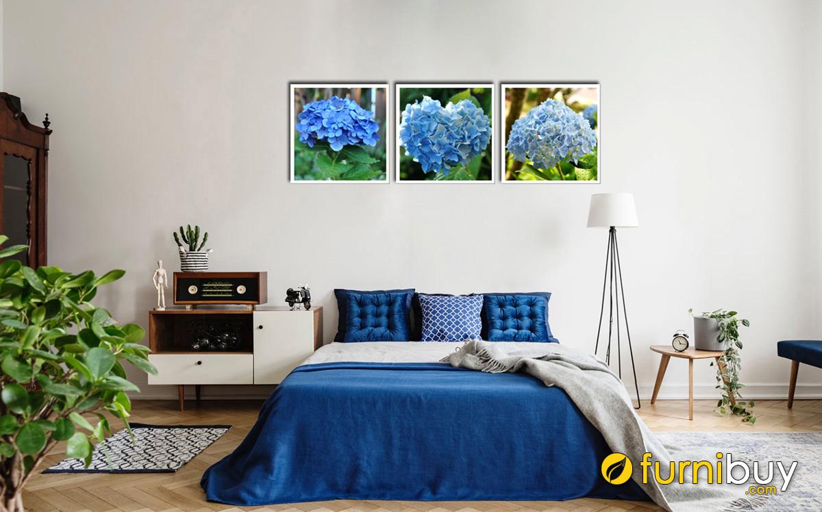 Hình ảnh Bộ tranh hoa cẩm tú cầu màu xanh treo phòng ngủ mệnh Mộc đẹp mã 731