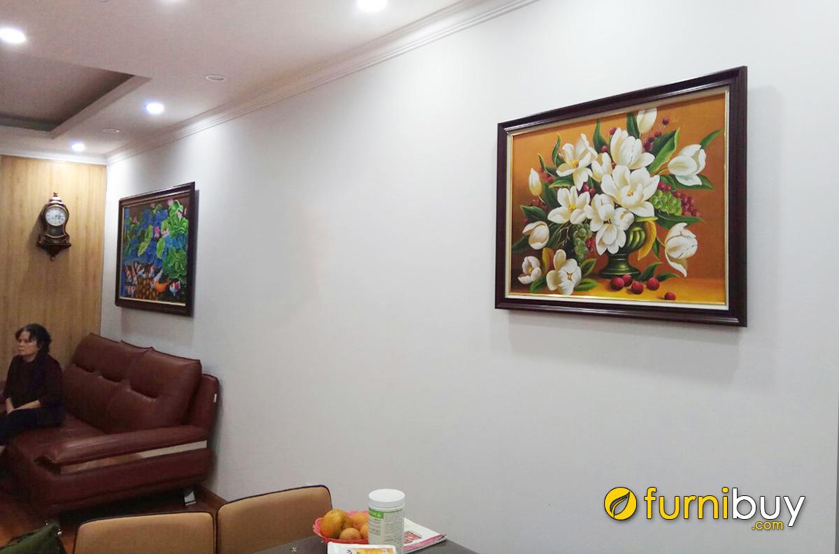 Hình ảnh Bộ tranh treo tường phòng khách liền phòng ăn sang trọng