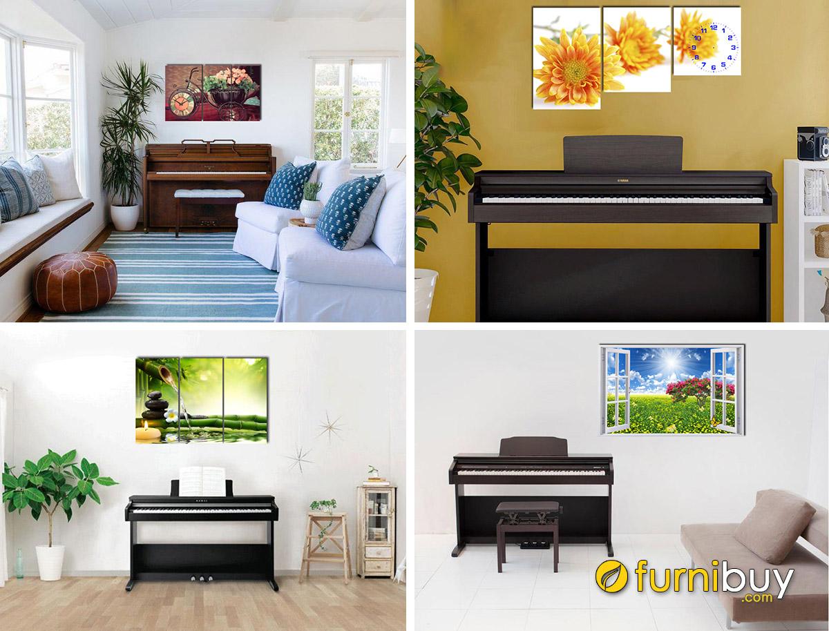 Hình ảnh Các mẫu tranh treo trên đàn piano phòng khách đẹp hiện đại